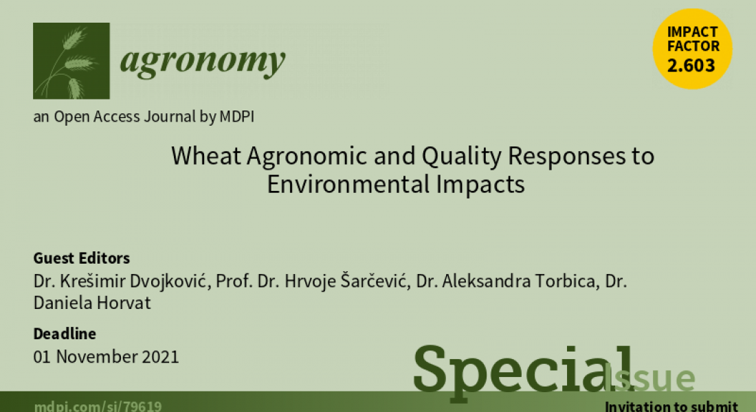"Poziv na objavu radova u specijalnom broju ""Wheat Agronomic and Quality Responses to Environmental Impacts "" u časopisu Agronomy."